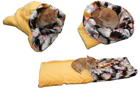 Marysa pelíšek 3v1 pro kočky, žlutý/kočky XL