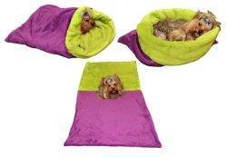 Marysa pelíšek 3v1 pro psy, fialový/světlé zelený, velikost XL