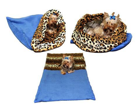 Marysa pelíšek 3v1 pro psy, modrý/leopard, velikost XL