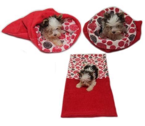 Marysa pelíšek 3v1 pro štěňátka/koťátka, červený/červená kolečka