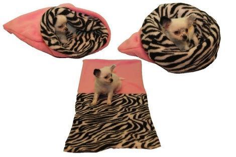 Marysa pelíšek 3v1 pro štěňátka/koťátka, světle růžový/zebra
