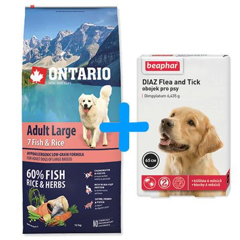ONTARIO Adult Large Fish & Rice 12kg + antiparazitní obojek Beaphar ZDARMA