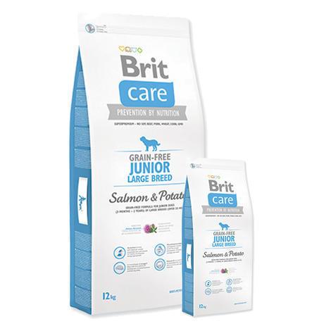 Granule BRIT Care Grain-Free Junior Large Breed Salmon & Potato  12kg + 3kg ZDARMA