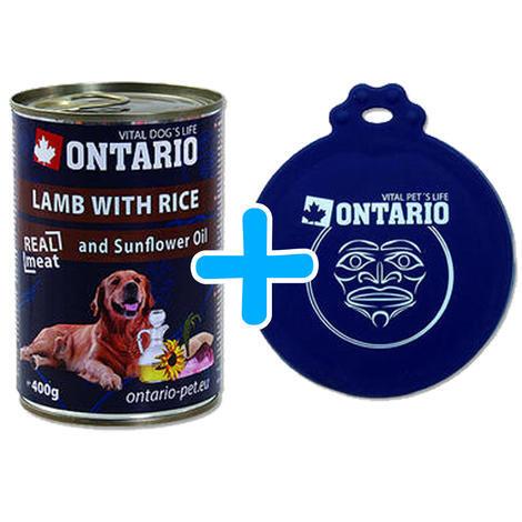 6 x ONTARIO konzerva Lamb, Rice, Sunflower Oil 400g + univerzální víčko zdarma  - 1