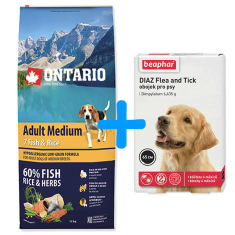 ONTARIO Adult Medium Fish & Rice 12kg + antiparazitní obojek Beaphar ZDARMA