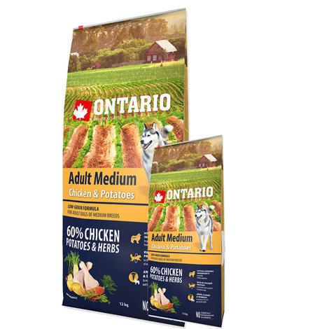 ONTARIO Adult Medium Chicken & Potatoes & Herbs 12kg + ONTARIO Snack Soft Chicken Jerky 70g ZDARMA + doprava ZDARMA - 1