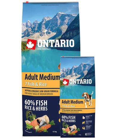 ONTARIO Adult Medium Fish & Rice 12kg + ONTARIO Snack Soft Chicken Jerky 70g ZDARMA + doprava ZDARMA