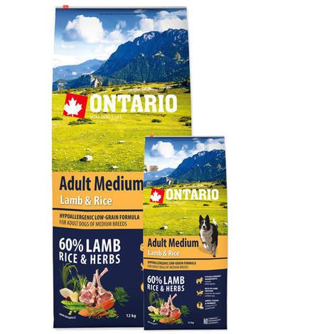 ONTARIO Adult Medium Lamb & Rice 12kg + ONTARIO Snack Soft Chicken Jerky 70g ZDARMA + doprava ZDARMA