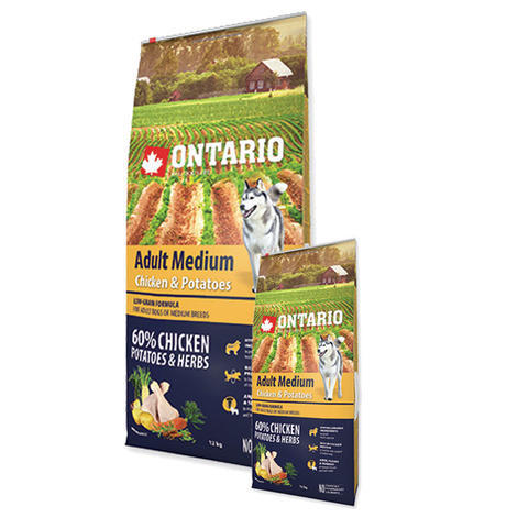 ONTARIO Adult Medium Chicken & Potatoes & Herbs 12kg + 2,25kg ZDARMA + doprava ZDARMA - 1