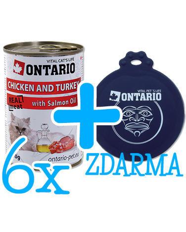 6 x ONTARIO konzerva Chicken, Turkey, Salmon 400g + univerzální  víčko ZDARMA  - 1