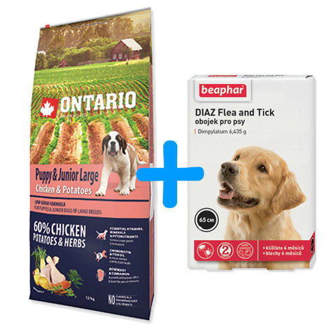 ONTARIO Puppy & Junior Large Chicken & Potatoes & Herbs 12kg+ antiparazitní obojek Beaphar ZDARMA