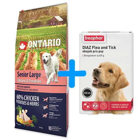 ONTARIO Senior Large Chicken & Potatoes & Herbs 12kg + antiparazitní obojek Beaphar ZDARMA