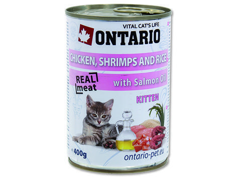 6 x ONTARIO konzerva Kitten Chicken, Shrimp, Rice and Salmon Oil 400g + univerzální víčko zdarma  - 2