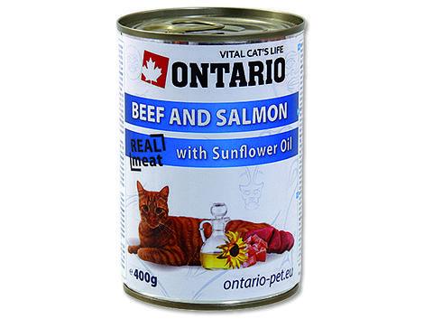 6 x ONTARIO konzerva Beef, Salmon, Sunflower Oil 400g + univerzální víčko zdarma  - 2