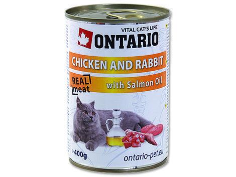 6 x ONTARIO konzerva Chicken, Rabbit, Salmon Oil 400g + univerzální víčko zdarma  - 2