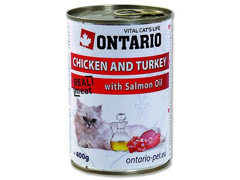 6 x ONTARIO konzerva Chicken, Turkey, Salmon 400g + univerzální  víčko ZDARMA  - 2