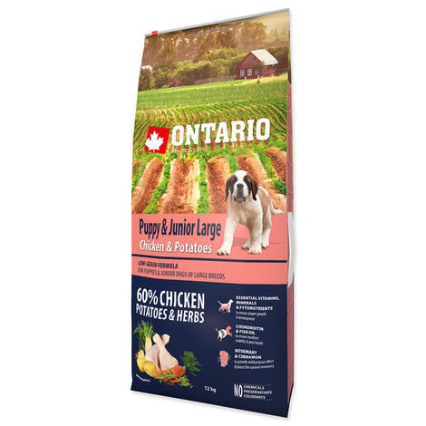 ONTARIO Puppy & Junior Large Chicken & Potatoes & Herbs 12kg + 2,25kg ZDARMA - 2