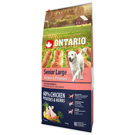 ONTARIO Senior Large Chicken & Potatoes & Herbs 12kg + 2,25kg ZDARMA - 2