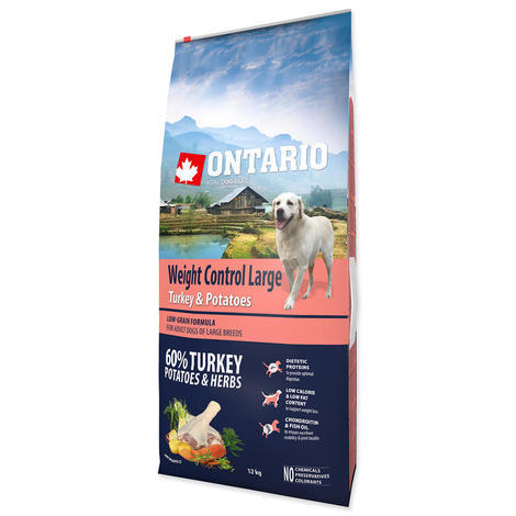 ONTARIO Large Weight Control Turkey & Potatoes & Herbs 12kg + 2,25kg ZDARMA  - 2