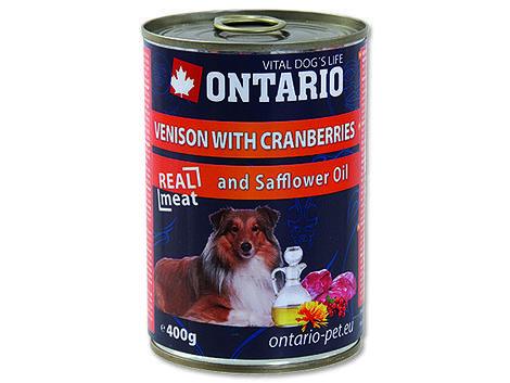 6 x ONTARIO konzerva Venison, Cranberries, Safflower Oil 400g+ univerzální víčko zdarma  - 2