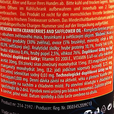 6 x ONTARIO konzerva Venison, Cranberries, Safflower Oil 400g+ univerzální víčko zdarma  - 4